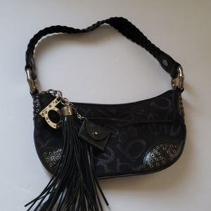 Bebe black with silver print purse